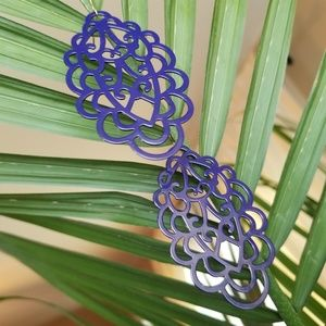 Large Filigree Purple Earrings